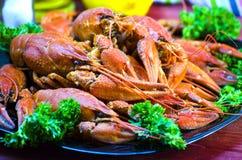 Rode en smakelijke gekookte rivierkreeften Stock Foto's