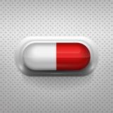 Rode en witte capsulepil met achtergrond Royalty-vrije Stock Foto's