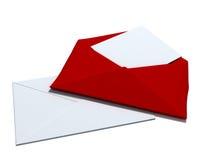 Rode en witte envelop Stock Afbeelding