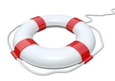 Rode en witte geïsoleerdea reddingsgordel Stock Foto