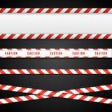 Rode en witte gevaarsbanden Geïsoleerde voorzichtigheidslijnen Vector illustratie vector illustratie