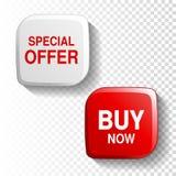 Rode en witte glanzende knoop op transparante achtergrond, plastic vierkant etiket met tekst - de Speciale aanbieding, koopt nu Royalty-vrije Stock Afbeeldingen