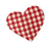 Rode en witte hart gevormde het huisdecoratie van het hoofdkussen Stock Foto