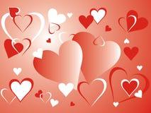 Rode en witte harten Stock Illustratie