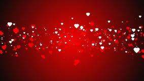 Rode en witte harten op rode achtergrond Vlakke stijl De dagachtergrond van de valentijnskaart het teken van de hartenvalentijnsk stock video