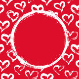 Rode en witte hartenkaart Stock Foto