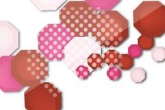 rode en witte hexgon overlape, abstracte achtergrond Stock Afbeelding