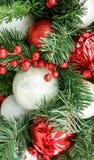 Rode en witte Kerstmisdecoratie Royalty-vrije Stock Afbeeldingen
