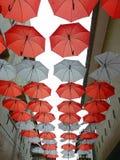 Rode en witte paraplu royalty-vrije stock foto