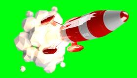 Rode en witte raket die het 3D teruggeven lanceren Stock Afbeeldingen