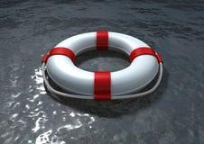 Rode en witte reddingsgordel op het overzees Stock Fotografie