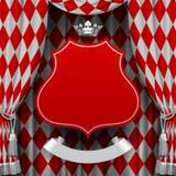Rode en witte romboïdenachtergrond met een rode opgeschorte decorati Royalty-vrije Stock Foto