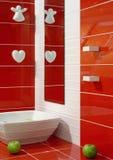 Rode en witte samenstelling met tegels Stock Foto's