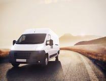 Rode en witte vrachtwagen het 3d teruggeven Royalty-vrije Stock Afbeeldingen