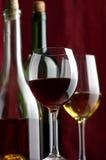 Rode en witte wijn Stock Foto