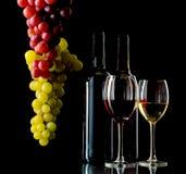 Rode en witte wijn met druiven Royalty-vrije Stock Foto