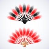 Rode en zwarte die verenventilator op witte achtergrond wordt geïsoleerd royalty-vrije illustratie