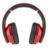 Rode en zwarte draadloze die hoofdtelefoons op wit worden geïsoleerd Stock Afbeeldingen