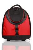Rode en zwarte gekleurde rugzak stock afbeelding