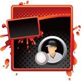 Rode en zwarte halftone advertentie met honkbalspeler Stock Foto's