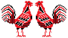 Rode en zwarte hanen Stock Fotografie