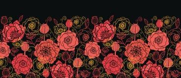 Rode en zwarte horizontale naadloos van papaverbloemen Royalty-vrije Stock Foto