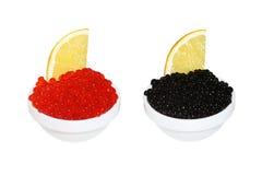 Rode en zwarte kaviaar Royalty-vrije Stock Afbeeldingen