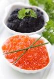 Rode en zwarte kaviaar Royalty-vrije Stock Foto's