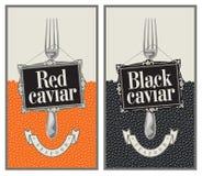 Rode en zwarte kaviaar Stock Foto's