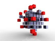 Rode en zwarte kubussen Stock Afbeeldingen
