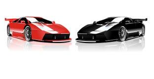 Rode en Zwarte Lamborghini Royalty-vrije Stock Foto's