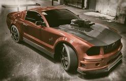Rode en Zwarte Mustangsportwagen vector illustratie