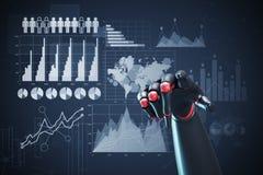 Rode en zwarte robothand, grafieken Royalty-vrije Stock Foto