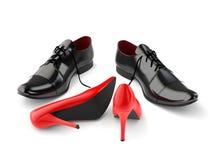 Rode en zwarte schoenen Stock Foto