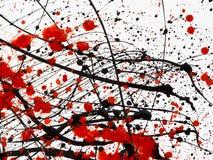 Rode en zwarte Verfdruppen op Witte achtergrond royalty-vrije stock afbeelding