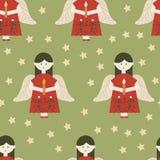 Rode engelen op groen naadloos patroon als achtergrond vector illustratie