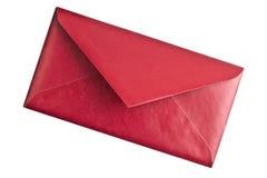 Rode envelop die op wit wordt geïsoleerde Royalty-vrije Stock Foto