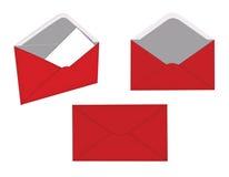 Rode envelop drie Stock Afbeeldingen