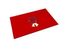 Rode envelop gesloten met rode was Stock Fotografie