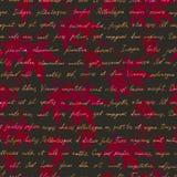 Rode esdoornbladeren met met de hand geschreven teksten Naadloos geheimzinnig patroon watercolor royalty-vrije illustratie