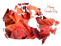 Rode Esdoornbladeren in vorm van de kaart van Canada Stock Foto