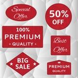 Rode etiketten Royalty-vrije Stock Afbeeldingen