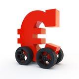 Rode Euro op wielen stock illustratie