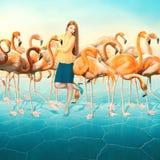 Rode Flamingo in woestijn en elegant gekleed omhoog meisje met een lang haar Royalty-vrije Stock Foto's