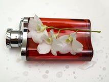 Rode fles voor parfum Stock Fotografie