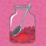 Rode frambozenjam en naadloos patroon van heerlijke rijpe raspber Stock Fotografie