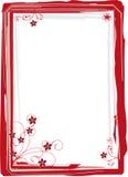 Rode frame bloemenpastelkleur royalty-vrije illustratie