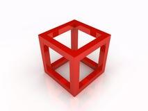 Rode frame kubus Royalty-vrije Stock Fotografie