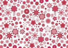 Rode funky bloemen en bladeren Stock Foto's
