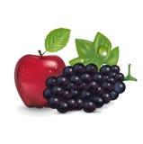 Rode geïsoleerde appel en druif Stock Fotografie